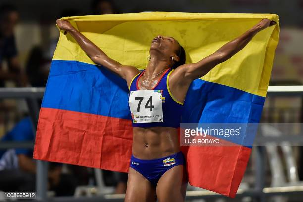 Colombian Muriel Coneo celebrates after winning in the Women's 5000 M final race during the 2018 Central American and Caribbean Games in Barranquilla...