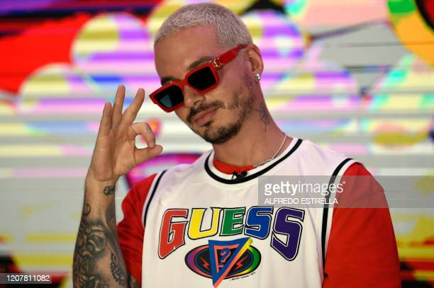 Colombian musician and composer Jose Alvaro Osorio Balvi aka J Balvin poses during a photo call at the Universal Music offices in Mexico City on...