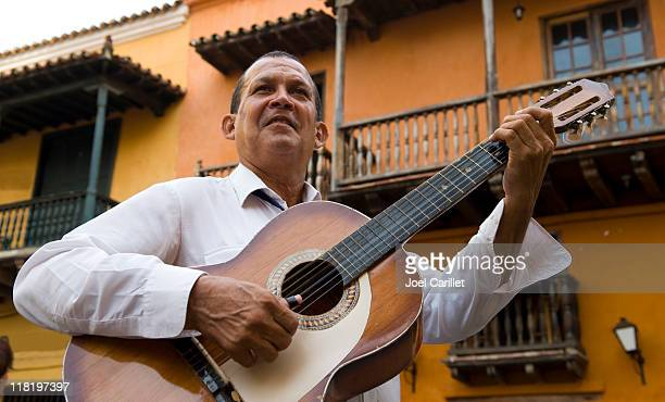 musician plays in Cartagena, Colombia