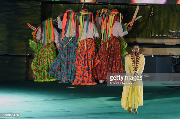 Colombian musician Maite Montero performs during the opening ceremony of the XVIII Bolivarian Games 2017 in Santa Marta Colombia on November 11 2017...