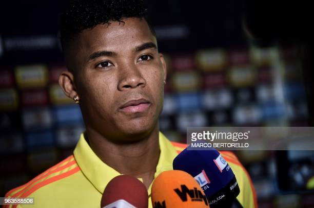 Colombian national football team's midfielder Wilmar Barrios gives a press conference following a training session at the Milanello training centre...