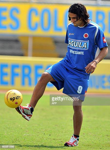 Colombian national team footballer Falcao Garcia controls the ball during a training session at Pascual Guerrero Stadium in Cali Valle del Cauca...