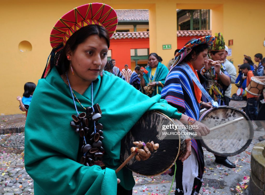 Colombian natives of Inga and Kamentsa tribes, from Sibundoy Valley, in Putumayo department, Colombia, celebrate the Forgiveness Carnival on February 24, 2009 in Bogota. AFP PHOTO/Mauricio DUEÑAS /