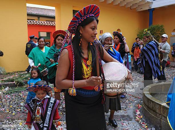 Colombian natives of Inga and Kamentsa tribes from Sibundoy Valley in Putumayo department Colombia celebrate the Forgiveness Carnival on February 24...