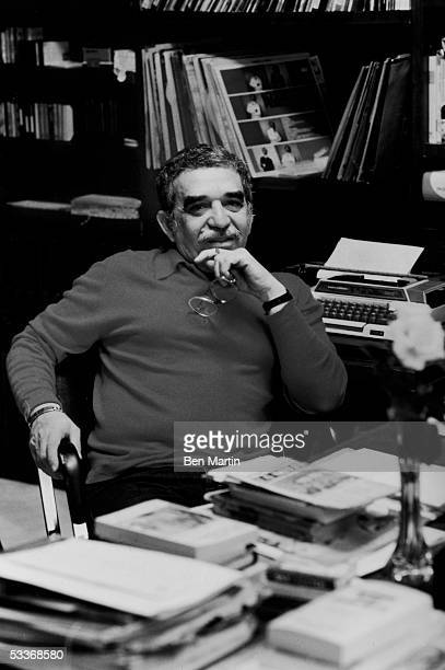 Colombian novelist Gabriel Garcia Marquez in his office at home