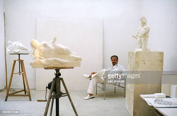 Colombian painter and sculptor Fernando Botero sits with some of his sculptures in his Paris studio Born in Medellin Colombia in 1932 Botero is known...