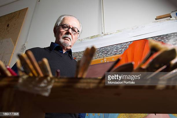 Colombian painter and sculptor Fernando Botero watching his paint brushes in his studio Monte Carlo 15th March 2012