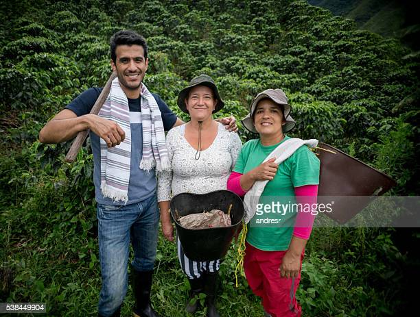 Colombian people working at a coffee farm