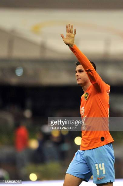 Colombian player Nicolas Benedetti of America celebrates his goal against Tigres during the Mexican Clausura 2019 tournament football match at the...