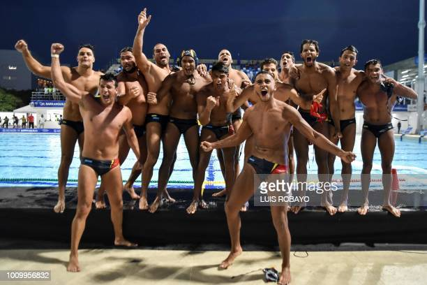 TOPSHOT Colombian players celebrate after winning the Men's Water Polo gold medal match against Cuba during the 2018 Central American and Caribbean...