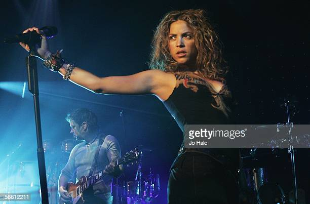 Colombian pop star Shakira previews material from her forthcoming album 'Oral Fixation Vol 2' at Porchester Hall on January 17 2006 in London England