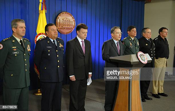 Colombian President Alvaro Uribe addresses to the Colombians accompanied by Colombian Defense Minister Juan Manuel Santos and Colombian Army...