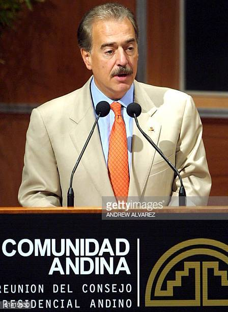 Colombian President Andres Pastrana delivers a speech at a meeting of the XIII summit of the Community of Andean Nations 23 June 2001 in Valencia...
