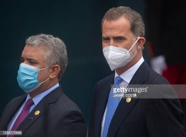 Colombian President Ivan Duque and King of Spain Felipe VI arrive to the Peruvian Congress to attend the inauguration ceremony of the elected...