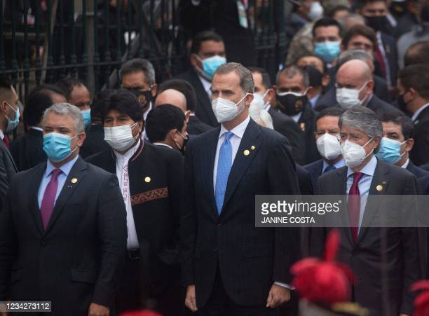 Colombian President Ivan Duque, Bolivian former President Evo Morales, King of Spain Felipe VI and Ecuadorian President Guillermo Lasso arrive to the...