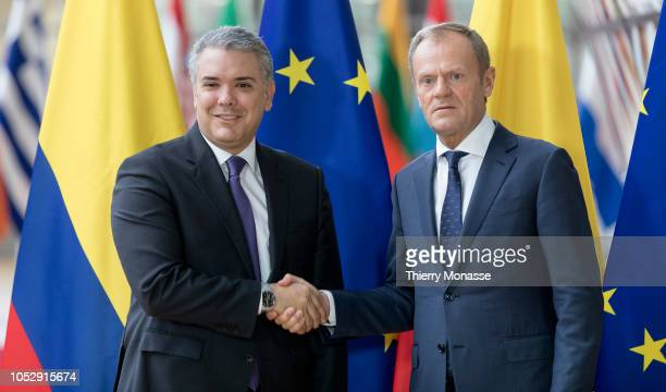 Colombian President Iván Duque Márquez is welcome by the President of the EU Council Donald Tusk prior to a bilateral meeting in the European Union...