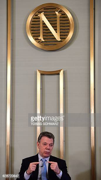 Colombian President Juan Manuel Santos addresses a news conference on the Nobel Peace Prize 2016 in Oslo on December 9 2016 Santos said the Nobel...