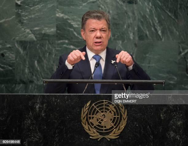TOPSHOT Colombian President Juan Manuel Santos addresses the United Nations General Assembly General Debate September 21 2016 at the United Nations...