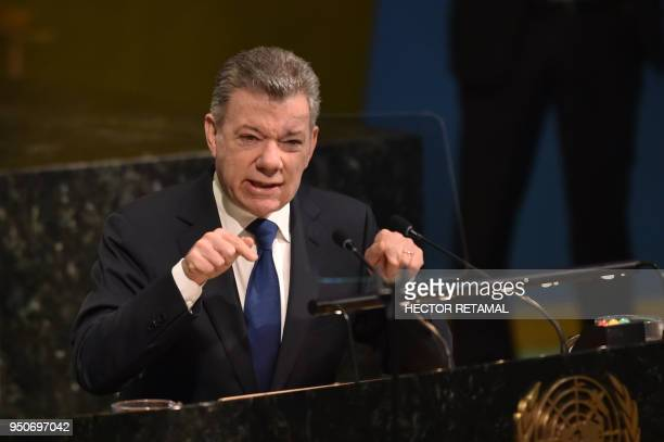 Colombian President Juan Manuel Santos Calderon speaks during the 72nd Highlevel Meeting on Peacebuilding and Sustaining Peace at United Nations...