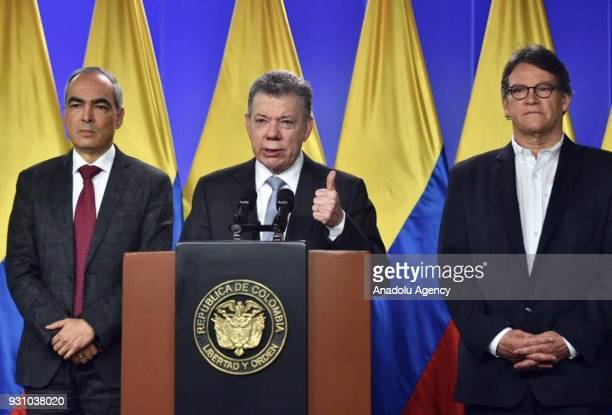 Colombian President Juan Manuel Santos Colombia's High Commissioner for Peace Rodrigo Rivera and chief negotiator Gustavo Bell hold a joint press...