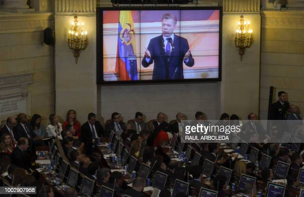 Colombian President Juan Manuel Santos delivers a speech during the installation of the new Congress at the Capitol in Bogota Colombia on July 20 2018