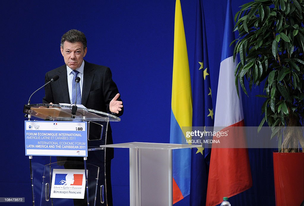 Colombian President Juan Manuel Santos delivers a speech, on January 24, 2011, in Paris, during the International Economic forum-Latin America and the Caribbean. The three-day meeting, taking place ahead of the yearly Davos Forum, is a panel focusing on Latin America and the Caribbean at the Paris-based Organization for Economic Cooperation and Development (OECD).