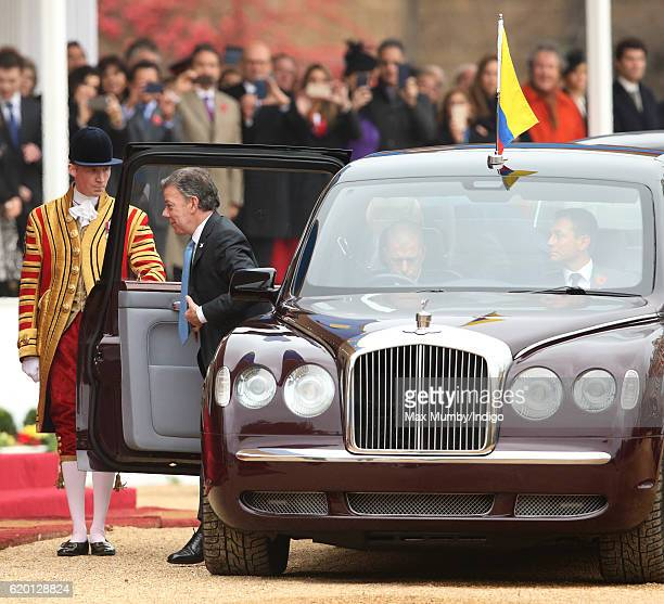 Colombian President Juan Manuel Santos disembarks the State Bentley car during his Ceremonial Welcome at Horse Guards Parade on November 1 2016 in...