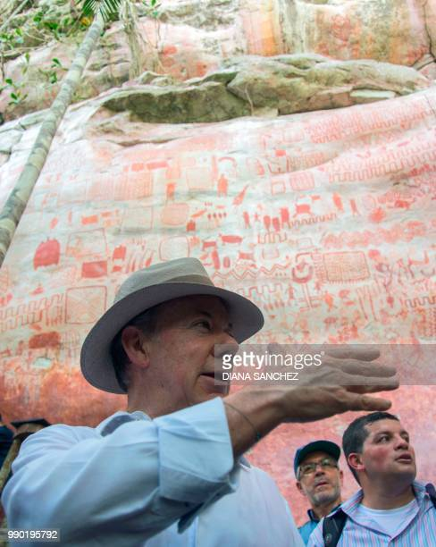 Colombian President Juan Manuel Santos speaks during a press conference to announce the expansion by 15 million hectares of the Chiribiquete National...
