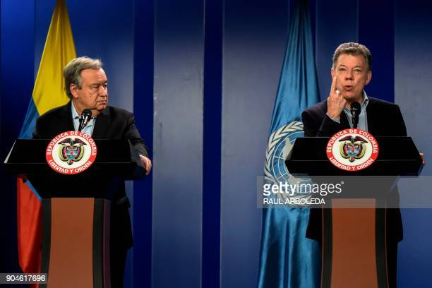 Colombian President Juan Manuel Santos speaks next to United Nations SecretaryGeneral Antonio Guterres during a press conference at the Narino...