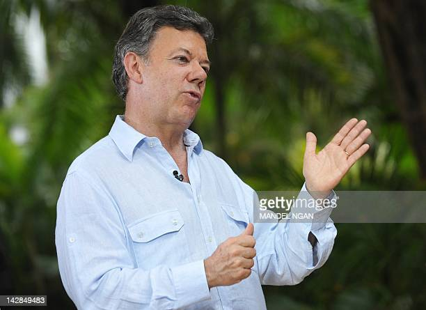 Colombian President Juan Manuel Santos speaks to ABC Correspondent Reena Ninan during an interview at a hotel in Cartagena Colombia on April 13 2012...