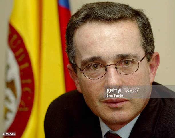 Colombian Presidentelect Alvaro Uribe Velez speaks to the news media July 16 2002 in London England Uribe will meet British Prime Minister Tony Blair...