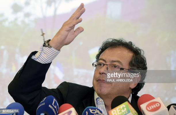 Colombian presidential candidate Gustavo Petro for the Colombia Humana Party attends a press conference during which retired members of the military...