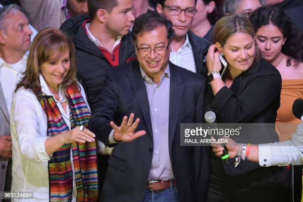 Colombian presidential candidate Gustavo Petro for the Colombia Humana Party flanked by his running mate Angela Robledo and his wife Veronica Alcocer...