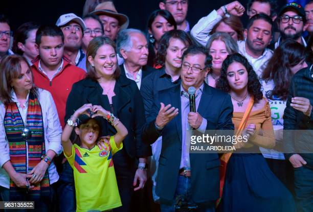 Colombian presidential candidate Gustavo Petro for the Colombia Humana Party accompained by his running mate Angela Robledo his wife Veronica Alcocer...