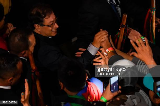Colombian presidential candidate Gustavo Petro for the Colombia Humana Party greets supporters in Bogota, after getting second place in the first...