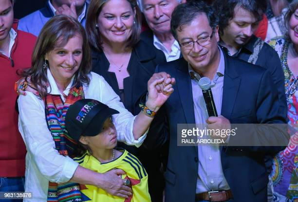 Colombian presidential candidate Gustavo Petro for the Colombia Humana Party next to his running mate Angela Robledo his wife Veronica Alcocer and...