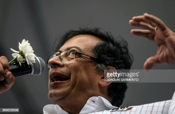 Colombian presidential candidate Gustavo Petro from the Colombia Humana party, delivers a speech during a campaign rally in Medellin, Colombia, on...