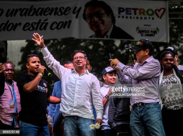 Colombian presidential candidate Gustavo Petro , from the Colombia Humana party, waves to supporters during a campaign rally in Medellin, Colombia,...