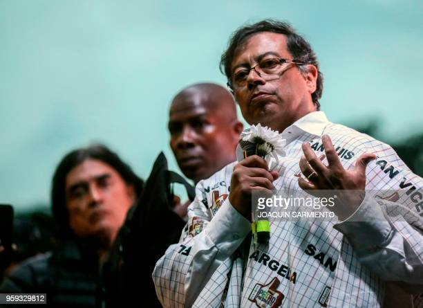 Colombian presidential candidate Gustavo Petro , from the Colombia Humana party, speaks to supporters during a campaign rally in Medellin, Colombia,...