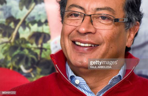 Colombian presidential candidate Gustavo Petro, of the Colombia Humana party, meeting with the foreign press in Bogota on May 1, 2018. - Petro, a...
