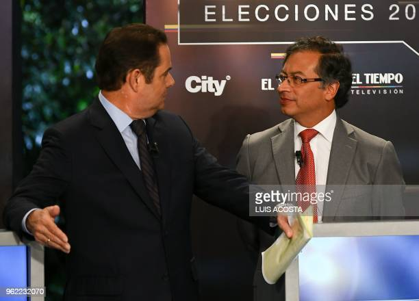 Colombian presidential candidates German Vargas Lleras, for the Cambio Radical Party and Gustavo Petro for the Colombia Humana Party, take part in a...