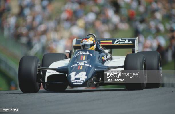 Colombian racing driver Roberto Guerrero drives the Ensign Racing Ensign N181 Ford Cosworth DFV 30 V8 in the 1982 British Grand Prix at Brands Hatch...