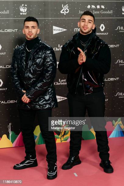 Colombian reggaeton singers Manuel Turizo and Julian Turizo attend 'Los40 music awards 2019' photocall at Wizink Center on November 08, 2019 in...