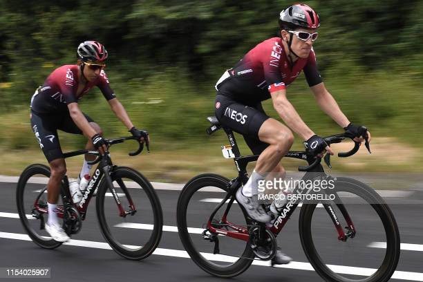 Colombian rider Egan Bernal and British rider Geraint Thomas cycle in the first stage of the 106th edition of the Tour de France cycling race between...