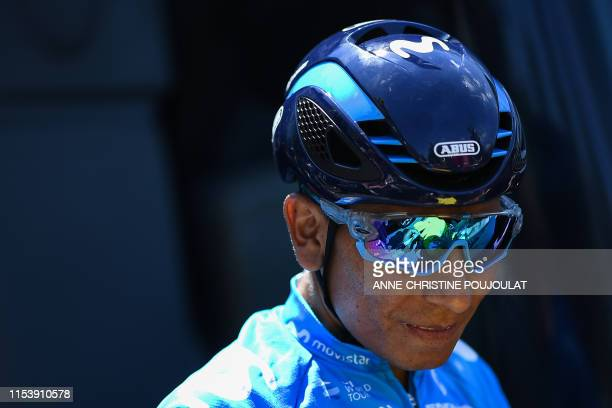 Colombian rider Nairo Quintana looks on during a training session of Spain's Movistar Team cycling team near Brussels on July 5 on the eve of the...
