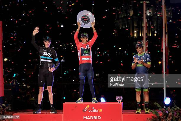 Colombian rider Nairo Quintana of Movistar team next to British Chris Froome of Sky team and Colombian Esteban Chaves of Orica celebrates after...