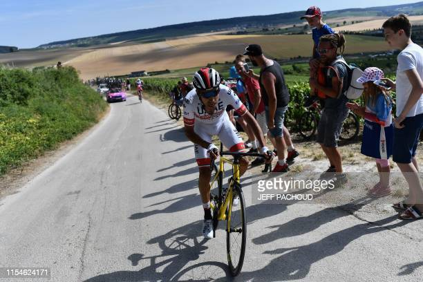 Colombian rider Sergio Henao cycles during the third stage of the 106th edition of the Tour de France cycling race between Binche and Epernay on July...