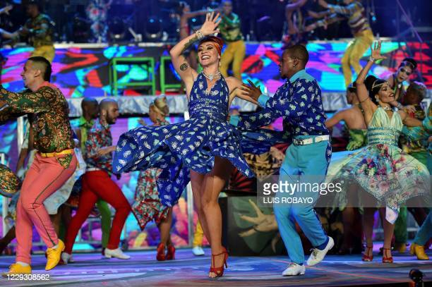 Colombian salsa dancer Angie Osorio performs during the 15th World Salsa Festival in Cali, Colombia, on October 12, 2020. - Cali was a 365-day-long...