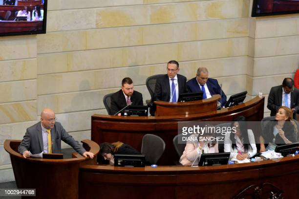 Colombian senator for the Common Alternative Revolutionary Force Carlos Lozada delivers a speech at the Capitol in Bogota during the installation of...