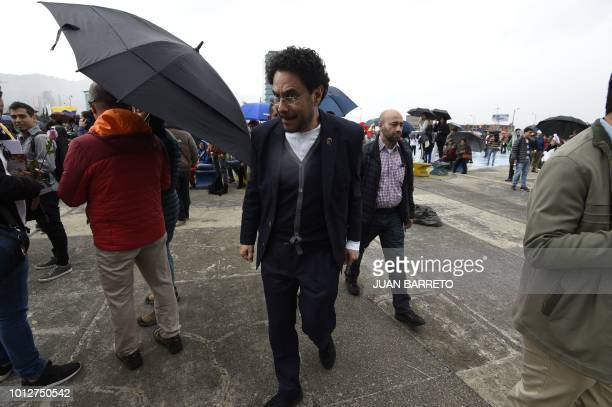 Colombian senator Ivan Cepeda of the Polo Democratico Alternativo party takes part in a demonstration against Colombia's Presidentelect Ivan Duque on...